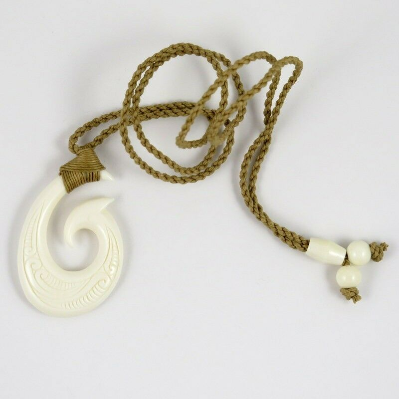 Hawaii jewelry tribal fish hook buffalo bone carved for Fish bone necklace