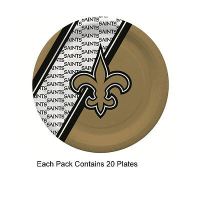 New 20pc NFL Disposable Party Supplies Paper Plates New Orleans Saints (Saints Party Supplies)