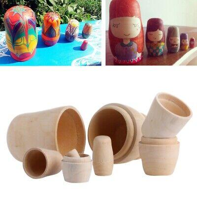 5x Unpainted DIY Blank Wooden Embryos Russian Nesting Dolls Matryoshka Toy Gift Blank Russian Nesting Dolls