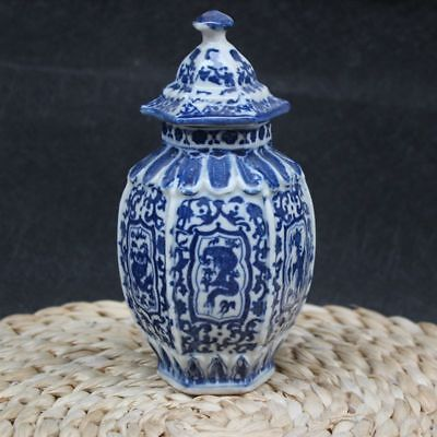 Chinese old blue and white porcelain Draw dragon vase W qianlong mark for sale  China