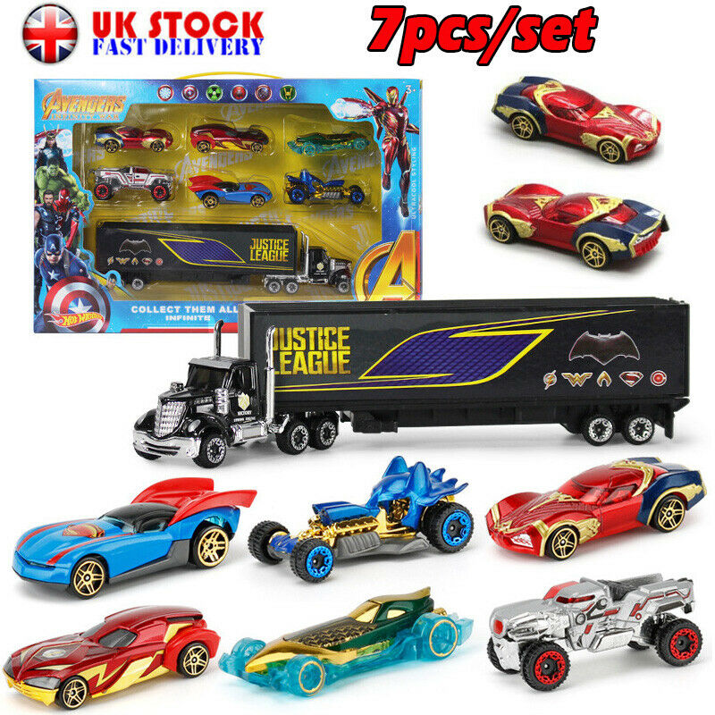 7PCS The Avengers Theme Truck /& Car Model Alloy Diecast Gift Toy Vehicle Kids