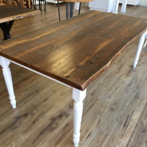 Live edge reclaimed and stained pine table, turned legs