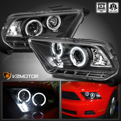 Fit 2010-2014 Ford Mustang Black Housing LED Projector Headlights Left+Right Black Housing Projector Headlights