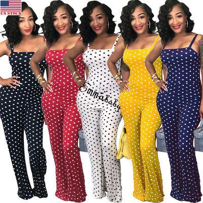 Women Ladies Clubwear Summer Playsuit Jumpsuit Romper Long Pants Party - Womens Clubwear