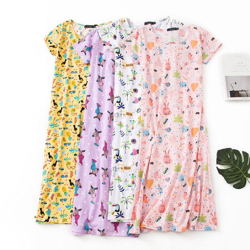 Ladies Short Sleeve Night Shirt Nightdress Nightie Nightshirt PJ pyjamas