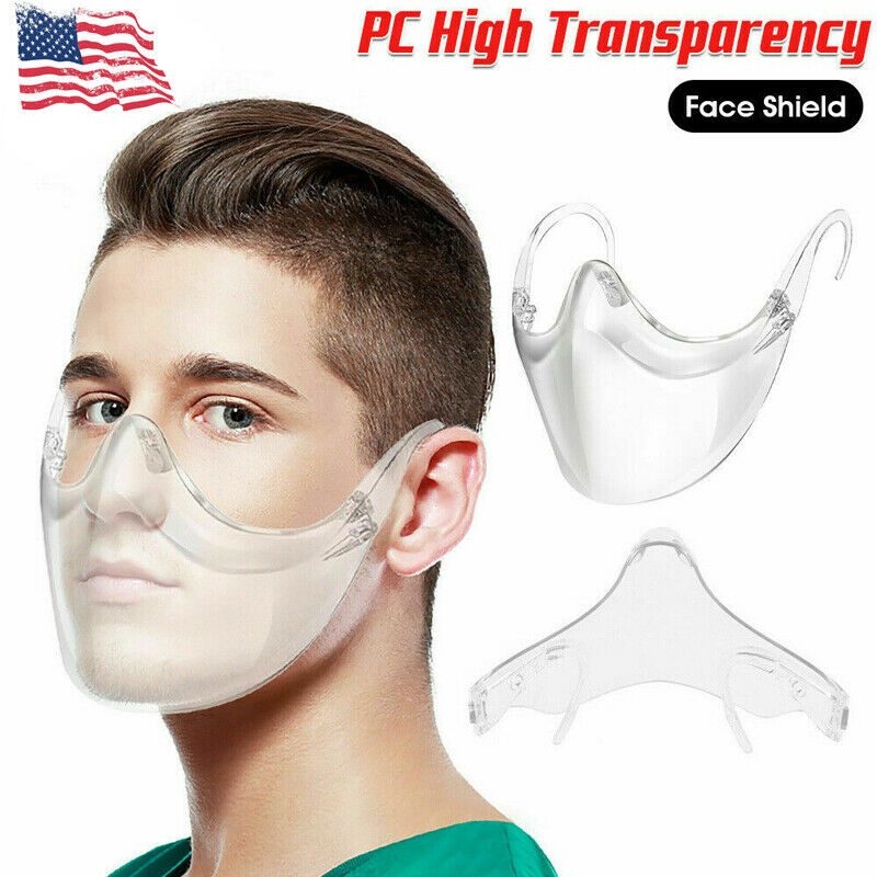 Clear Face Mask Cover 3D Durable Shield Reusable Transparent Plastic Bracket USA