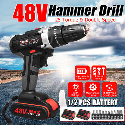 1500w 48v Electric Drill Hammer Cordless 28n.m Powered Screwdriver 1 2 Battery