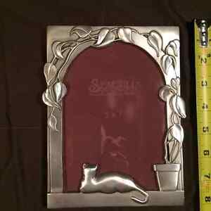 Vintage Cat in Window Seagull pewter photo frame