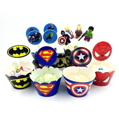 Spiderman Cupcake Wrappers (Cupcake Wrappers Superhero Avengers Spiderman Cake Toppers Birthday Decor 12)