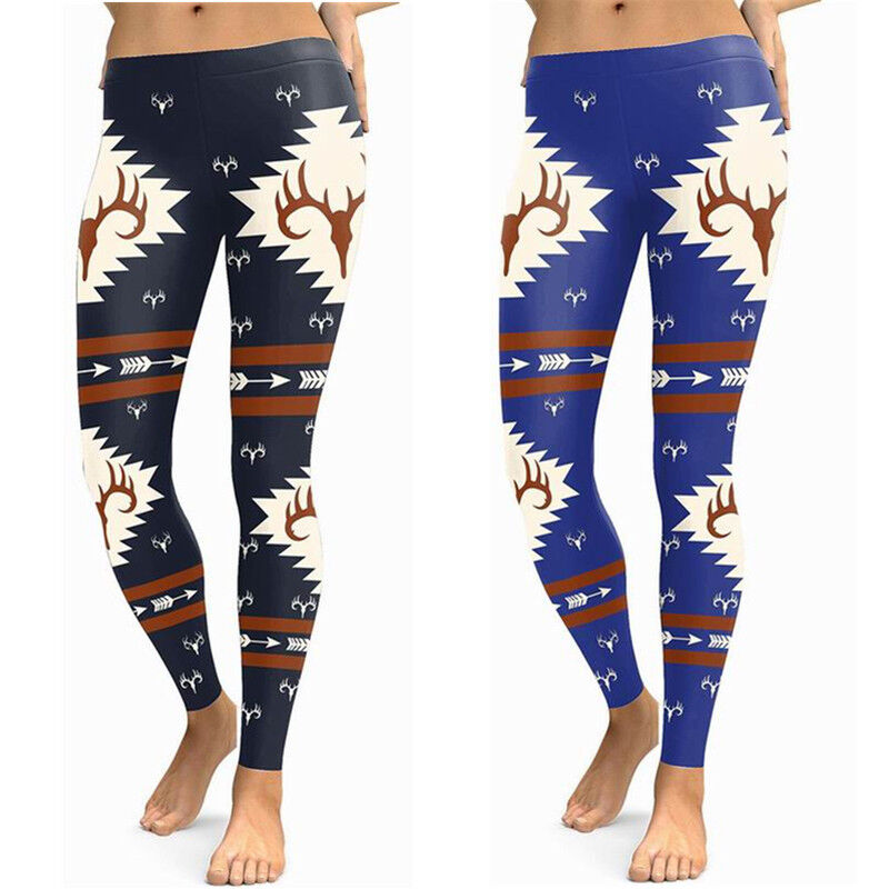 Christmas Deer Printed Stretchy Pants Leggings Exercise Clothes New Year Gifts