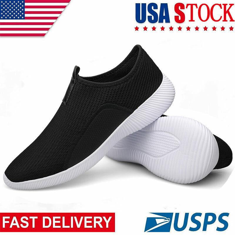 Mens Walking Shoes Slip Running Lightweight Breathable Mesh