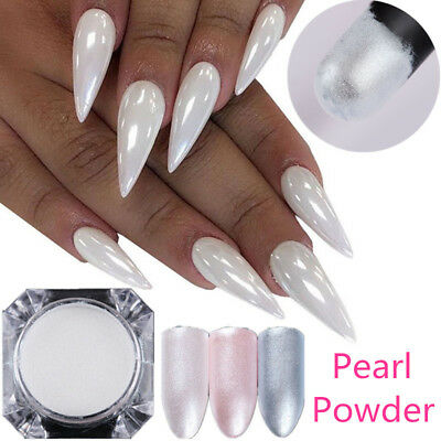 1.5g White Chrome Powder Pigment Pearl Nail Art Crystal Shiny Dust Born Pretty