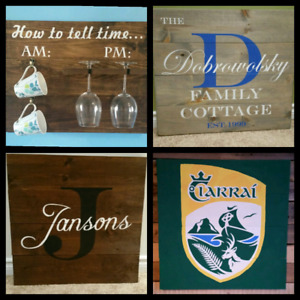 """Custom made pine rustic wooden signs 17""""×17"""""""