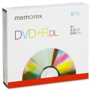Memorex 8.5GB 8x Double Layer DVD+R (5 Pack) - NEW IN BOX