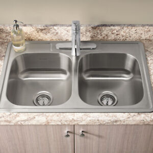 Stainless Steel Double sink - 28 inside fit 30 Cabinet