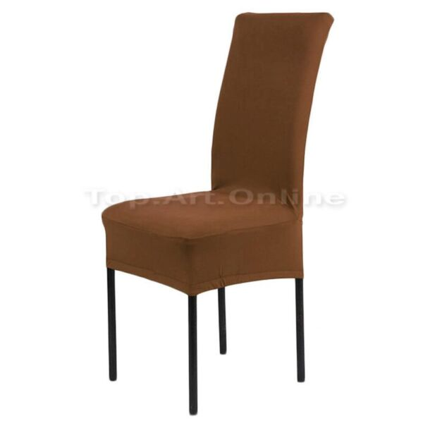 2X DINING CHAIR COVERS Stretch Spandex COFFEE BROWN SlipCover Chairs Protector