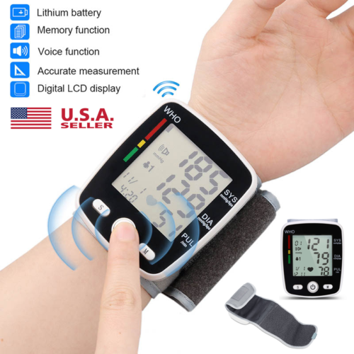 LCD Digital Wrist Blood Pressure Monitor BP Cuff Machine Pul