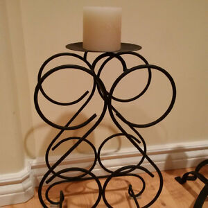 3 candle holders and wine rack