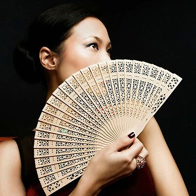 Chinese Folding Bamboo Original Wooden Carved Hand Fan fit Wedding Party CMUK