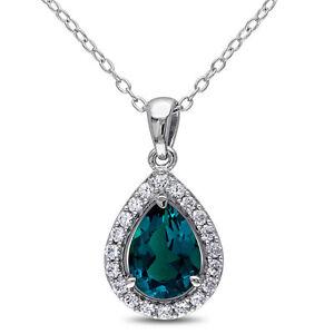 #Created Emerald and Created White Sapphire Pendant
