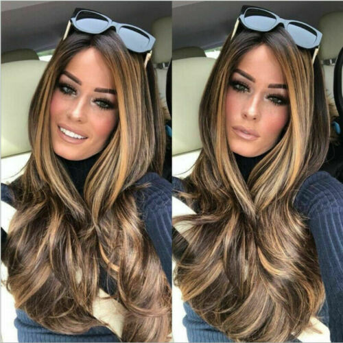 """23"""" Golden Brown to Gold Ombre Long Wavy Curly Blonde Wig Women"""