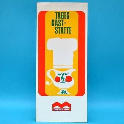 Oberer Hof Tagesgaststätte Oberhof 1971 | Speisenkarte DDR Getränkekarte A