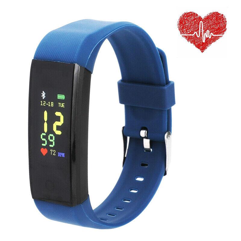 Smart Watch Fitness Waterproof Heart Rate Fitness Tracker Caolorie Monitor BLK