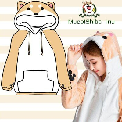 US Stock Shiba Inu Doge Hoodies Women Winter Plush Pullover With Ear Muco Anime