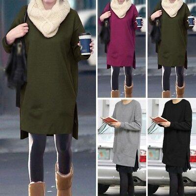 Stylish Women Autumn Sweatshirt Dress Casual Split Fleece Sweat Shirt Dress Plus Split-fleece-sweatshirt