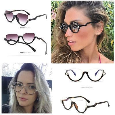 Women Half Frame Plain Glasses Fashion Cat Eye Sunglasses Clear Lens Oculos