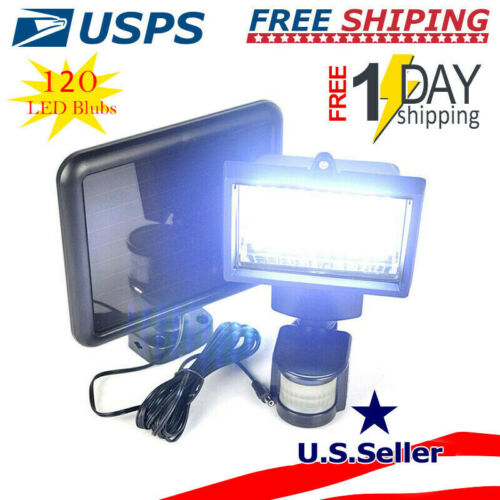 120100 LED Solar Wall Light Motion Sensor Outdoor Garden Flood Lamp Waterproof