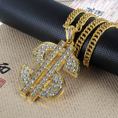 1PC Hip Hop Necklace Men Gold CZ Dollar Sign $  Pendant Long Chain Gift Jewelry