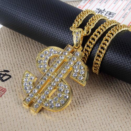 1PC Hip Hop Necklace Men Gold CZ Dollar Sign $  Pendant Long