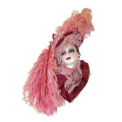 UNIQUE CREATIONS LADY FACE MASK WALL DECOR SIGNED/NUMBERED LIMITED Pink