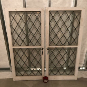 Must sell- matched set of antique leaded windows / cabinet doors