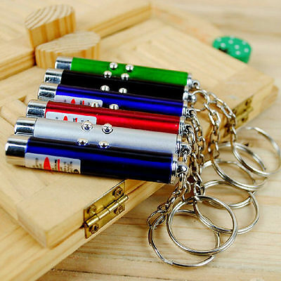 Mini Money Detector Red Laser Pointer Pen Led Light Keychain Cat Toy Mo
