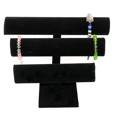 Black Velvet Jewelry Display Triple Bracelet Display Jewelry Stand Dsp0002
