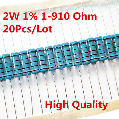 20pcs 2w 2 Watt Metal Film Resistor 1 56 120 150 180 430 470 680 1-910 Ohm