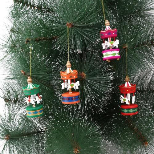 Details About 6pcs Wooden Carousel Horse Hanging Pendant Christmas Tree Ornaments Decoration S