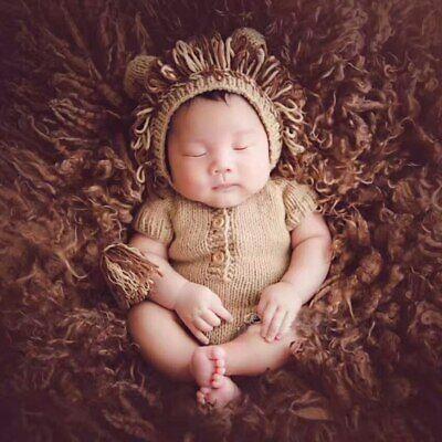 Lion Style Boy's Newborn Photography Costumes Cotton Knitted Hats +Pants Set - Newborn Lion Costume