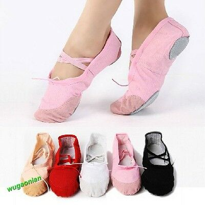 Child Adult Canvas Ballet Dance Shoes Slippers Pointe Dance Gymnastics 23 Sizes