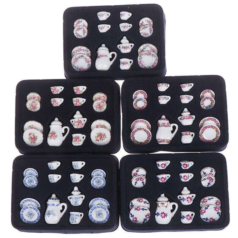 15Pcs Miniature Dollhouse Tazze da tè in porcellana caffè Set Casa delle Bambole