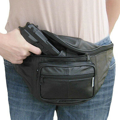 Leather CCW Concealed Fanny Pack w/ Gun Holster, Mens Waist Belt Bag Gun Holder