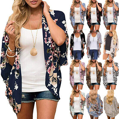 Women Floral Chiffon Shawl Kimono Cardigan Top Beach Shirt Cover Up Loose Blouse - Floral Kimono Top