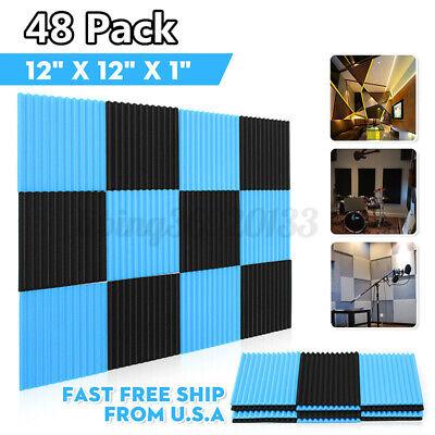 48 Pack  Acoustic Panels Studio Soundproofing Foam Wedge Tiles 12'' x 12'' x
