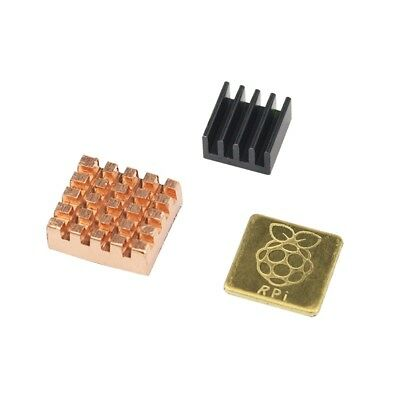 3 teiliges Premium Kühlkörper Set für Raspberry Pi 2 & 3 Heatsink Set Kupfer