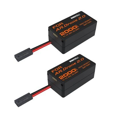 2Pack New 2000mAh Parrot AR Drone 2.0 Battery 11.1V 20C Upgrate Li Po Battery TP