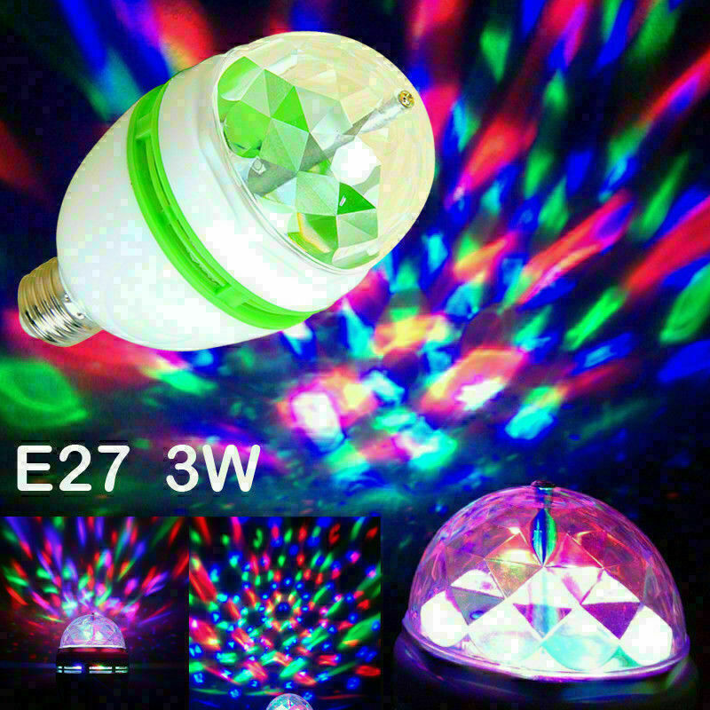 2Pcs 3W RGB LED Color Rotating Lamp Disco Party Bar Club Effect Stage Light Bulb