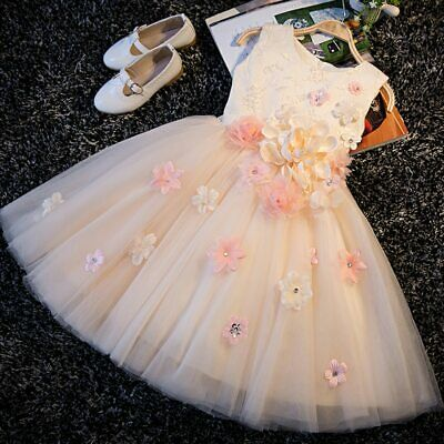 Floral Sweet A-Line Lace Up  Princess  Prom Party Wedding Flower Girls Dress