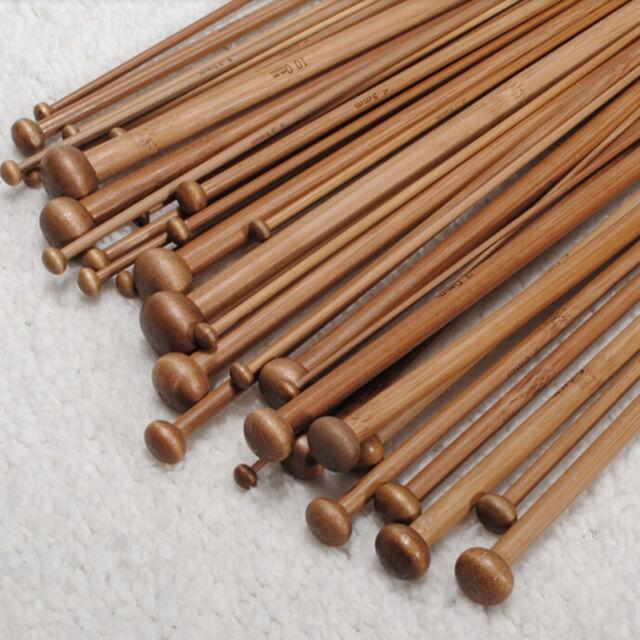 36pcs 18 Size Carbonize Bamboo Single Pointed Crochet Knitting Needles Hot UK16